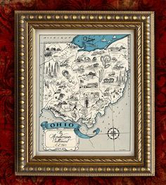 Custom MAP Art Print OHIO Vintage Retro Personalized Map - Gift Table Decor