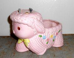 Vintage Planter Music Box Pink Lamb Rock  A  Bye by TheBackShak, $19.00