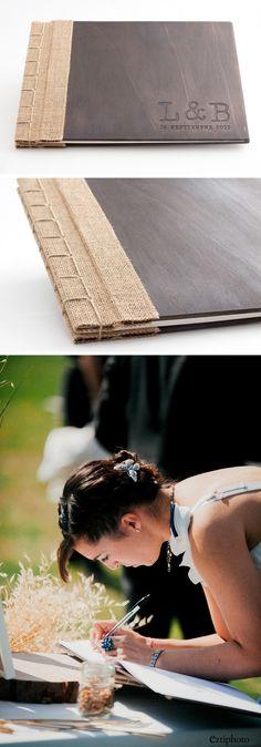 libro de firmas de madera y tela arpillera con encuadernación japonesa. Grabado y tintado! 100% handmade. #wedding, #gestingbook, #weedingbook, #handmade