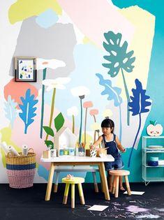 Little artist room created by Jessica Hanson. On Okomomo Design Blog