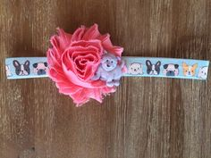 Coral Puppy Headband  TheLittleArrowShop.etsy.com