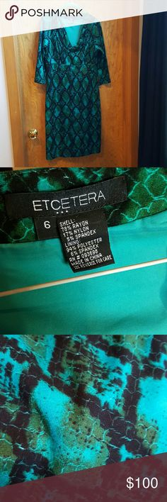 Etcetera snake print dress. Sexy cut-out at bodice Super comfy. Side zip. Fun snake print. Lined. Etcetera is a private label designer clothing company, designed in NYC and made with quality fabrics from Europe. Etcetera clothing is not sold in stores or online, it is only available for purchase through private consultants. Etcetera Dresses Mini