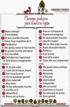 PSICOLOGOS PERU: 40 MENSAJES POSITIVOS PARA LOS HIJOS