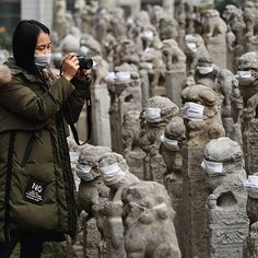 Lion sculptures have their mouths covered by masks in Xi'an, Shaanxi province, China on December 12th 2016. Several art students from Xi'an Fine Art College spent an hour and a half overnight adding masks to more than 800 stone hitching posts, in order to raise awareness about air pollution. Credit: EPA #China #pollution #art #protest #Shaanxi #students