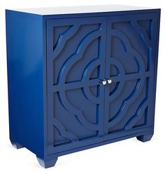 One Kings Lane - Classic Meets Colorful - Alex Carved Cabinet, Navy