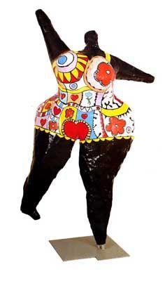 Opdracht 3: Niki de Saint-Phalle - Black nana (1969) Abstractie Onderwerp: Een afgebeelde zwarte vrouw met een kleurrijk zwempak aan die lijkt te dansen met een bal boven haar hoofd. Affect: De eigenaardigheid van dit kunstwerk overviel me toen ik het bekeek. Het is staat voor liefde, seks en schoonheid. Het beeld werd ontworpen in de tijd dat gestreden werd voor de rechten van de vrouw. Product: polyester