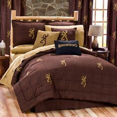 Burgundy Buckmark Bedding Set - create your own outdoor themed bedroom with our Burgundy Buckmark bedding sets. They feature tan Browning logos on a plaid burgundy background. Great bedding set for the outdoors person. King Size Comforter Sets, King Size Comforters, Bedding Sets, Camo Bedding, Rustic Bedding, Yellow Bedding, Burgundy Bedding, Browning Buckmark, Browning Deer