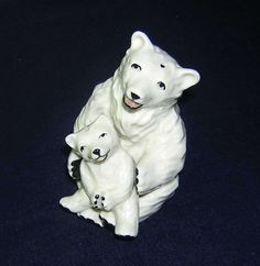 Vintage Ceramic Arts Studio Figural Polar Bear Mom & Cub Salt Pepper Shakers CAS