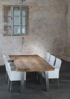 Alter_Holztisch Open Plan Kitchen, Dining Area, Dining Room Table, Decorating Your Home, Diy Home Decor, Steel Table Legs, Slab Table, Kitchen Family Rooms, Style Rustique
