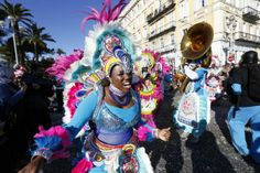 Dancers parade during the Nice Carnival on March 2, 2014 in Nice, southeastern France. The theme of this year's carnival, running from Febru...