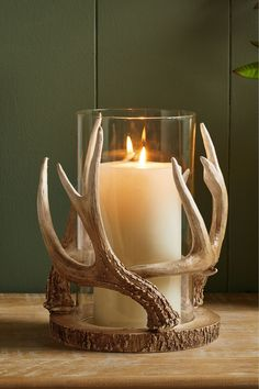 A statement glass hurricane with antler effect detailing. Perfect for adding a country rustic feel to your home. Suitable for pillar candles, not included. Antler Candle Holder, Hurricane Candle Holders, Wood And Metal Shelves, Antler Crafts, Driftwood Crafts, Glass Tea Light Holders, Deer Antlers, Rustic Feel, Pillar Candles