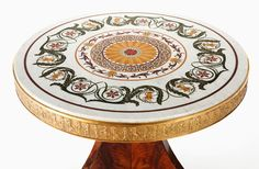 Furniture : French, A THOMIRE FRENCH EMPIRE GILT AND PATINATED BRONZE MAHOGANY CENTERTABLE WITH INLAID MARBLE TOP . Pierre-Philippe Thomire (Fr...