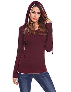 afb0dedf8ae865 Purple Hanger Women s Casual Long Sleeve Loose Fit Hoodies Pullover Hooded  Sweaters Sweatshirt