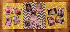 wrap three canvases in fabric for picture boards at a party (12 months of growth)
