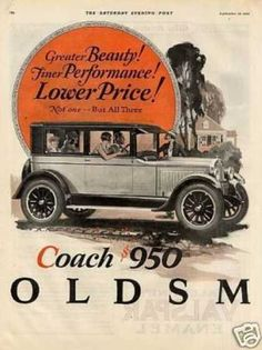 Oldsmobile Six Coach Color Ad 2 Page (1925)