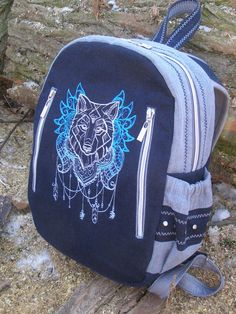 Denim backpack for school, Backpack with wolf embroidery, Jeans Blue backpack, Jeans Hipster rucksack, Urban stylish. by BagRumadi on Etsy Jean Backpack, School Backpacks, Fashion Backpack, Wolf, Hipster, Embroidery, Trending Outfits, Stylish, Unique Jewelry