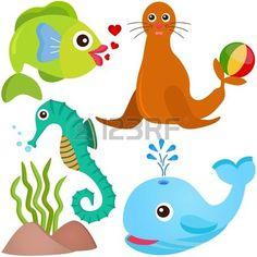 Un conjunto de colores de los iconos lindos animales vectoriales: El pescado, la vida del mar photo