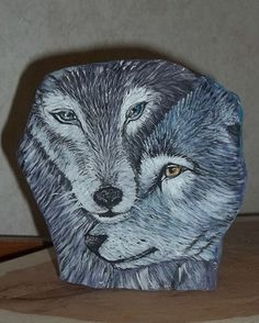 hand painted rock - Wolves - original by KY artist