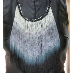"""2xHPOmbré Fringe Glam Statement Necklace Statement making necklace alert! Amazing ombré chainette fringe that fades from white to blue to black. 23 1/2"""" gunmetal chain, 9"""" long fringe. Made by hand. No trades, no PayPal. www.ekammeyer.com E.Kammeyer Accessories Jewelry Necklaces"""