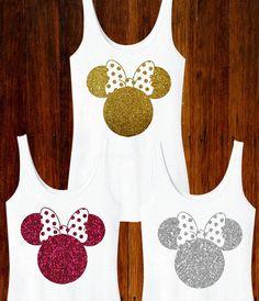 Minnie Mouse Inspired Glitter Women's Tank Disney by TheBizziB