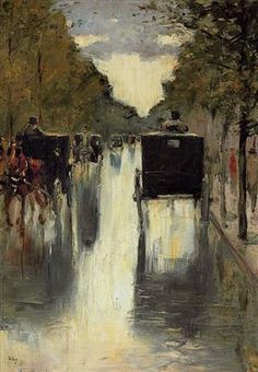 Berlin street scene with horse-drawn cabs - Lesser Ury
