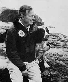 President Bush's dog Millie is the only First Pet to write a book. Millie had puppies while President Bush was in office, and her puppies all went to good homes. Ranger, one of Millie's puppies, is pictured here with President Bush.