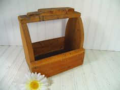 Vintage Primitive HandMade Wooden Shoe Shine Tool Box - Rustic Wood Remnants Artist Supplies Carrier Tote - Antique Bottle, Vase, Jug Holder $18.00 by DivineOrders