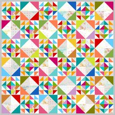 Alternating Blocks using solids and Modern Backgrounds Colorbox by Zen Chic for Moda