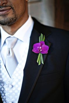 Groom & Groomsmen Bamboo lapel.  Orchid for Groom.