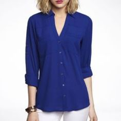 Express Portofino Shirt Royal blue Express Portofino size small button up shirt with convertible sleeves. Express Tops Button Down Shirts