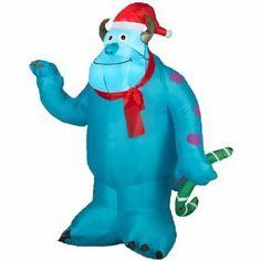 Sulley! Sulley! Sulley! This inflatable Sulley wears a Santa hat & scarf. He is over 3 feet tall and comes with lighting included! OH, this is a must order Christmas yard decoration for children of all ages!