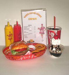 FAKE FOOD  DINER CAR HOP COMPLETE CHEESEBURGER MEAL W/MENU