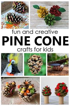 Easy pine cone crafts for kids and creative things to make with pine cones. Fun fall nature craft ideas for kids. Fall Crafts For Toddlers, Easy Fall Crafts, Thanksgiving Crafts For Kids, Easy Arts And Crafts, Halloween Crafts For Kids, Craft Projects For Kids, Crafts For Kids To Make, Fun Crafts, Craft Ideas