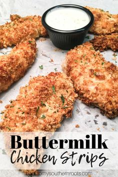 Baked Buttermilk Chicken Strips are a budget-friendly homemade dinner that is easy to make. The oven-baked chicken strips are breaded in buttermilk, parmesan cheese, herbs, and Panko bread crumbs for a delicious and tasty dinner. #baked #homemade #easy #dinner #oven #panko #recipe #breaded #recipe
