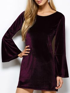 Cut Out Flare Sleeve Velvet Dress in Purplish Red | Sammydress.com