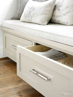 Banquette Built-In Benches Add Smart Kitchen Seating Apartment Therapy Storage Bench Seating, Kitchen Storage Bench, Storage Spaces, Storage Drawers, Window Seats With Storage, Corner Window Seats, Corner Bench With Storage, Window Seat Kitchen, Corner Banquette
