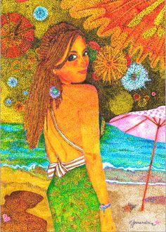 Golden Girl-Puntillismo en tinta FERNANDINI-(50cmx35cm) PRECIO: 600 Dólares | Venta de Pinturas al óleo y acuarela de Patty Fernandini