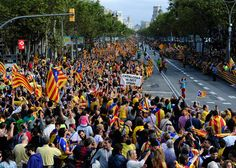 #Catalans gather to create a 400-kilometre (250-mile) #humanchain, part of a campaign for #independence from Spain during #Catalonia National Day, or #Diada, at the Passeig de #Gracia in #Barcelona, on September 11, 2013 (AFP Photo / Josep Lago) #CatalanWay #ViaCatalana #Catalunya #Catalonia