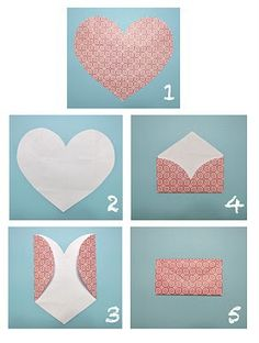 Over 100 envelope templates and tutorials- I am pretty sure the craft store sells already precut heart shaped papers