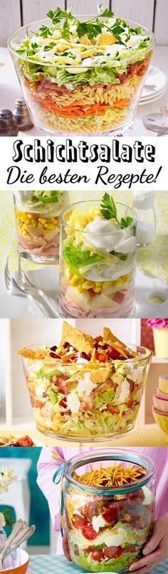 Ready to #party? Hier kommen unsere besten Schichtsalate, von denen deine Gäste garantiert nicht genug kriegen. #Rezepte zum Weitersagen!