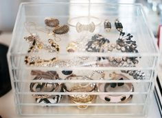"Jewelry Storage Idea #3: The Box -- Organization at its most beautiful, a clear box shows off your prettiest trinkets and looks good while doing so.  Get all the stylish, designer-approved storage solutions and organizational ideas in ""6 Hot Ideas for Organizing Jewelry"" over on the One Kings Lane Style Guide!"
