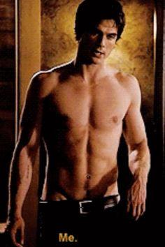 Shirtless Ian    So  sexy Ian Somerhalder (Damon Salvatore.) Vampire Diaries