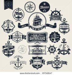 Nautical Ship logo Clip Art | Set Of Vintage Retro Nautical Badger And Labels - stock vector
