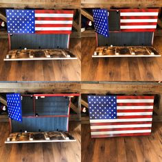 Rustic American Flag, Concealed Weapon Flag Cabinet, Wooden American Flag, American Flag Wall Art, W American Flag Wall Art, Wooden American Flag, Wooden Flag, Wooden Diy, Diy Wood, Hidden Gun Cabinets, Hidden Cabinet, Hidden Gun Storage, Gun Cases