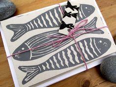 Hand Printed Seaside Grey Fish Six Pack Notecards - Lino/Block Print Wedding Pins, Wedding Cards, Nautical Wedding Theme, Fish Print, Note Cards, Printmaking, Seaside, Printing On Fabric, Screen Printing