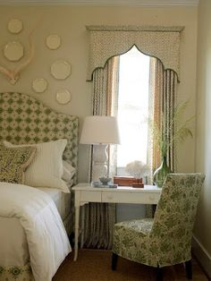 Another valance to love in a green accented bedroom.