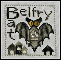 10% OFF Pre-order Belfry Bat Halloween cross stitch pattern INCLUDES charm by Hinzeit at thecottageneedle.com October 31 vampire by thecottageneedle