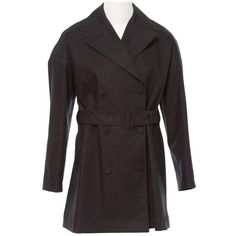 Pre-owned Alaïa Trench Coat ($1,349) ❤ liked on Polyvore featuring outerwear, coats, black, short coat, long sleeve coat, double breasted coat, alaïa and fur-lined coats