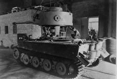 The Henschel built turret being installed on this Tiger 1 chassis
