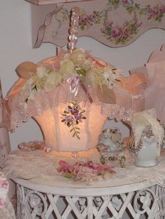 Fabric and lace Basket Lamp by mylulabelles, via Flickr